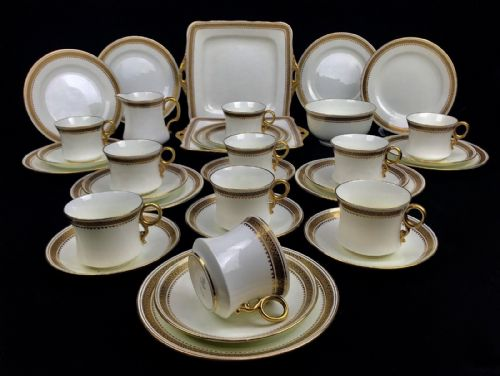 Vintage Fenton China  White & Gold Tea Set For 10 People / Afternoon Tea Trio